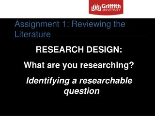 Assignment 1: Reviewing the Literature