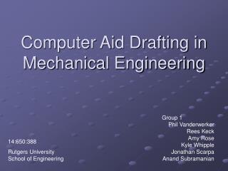 Computer Aid Drafting in Mechanical Engineering