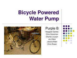 Bicycle Powered Water Pump