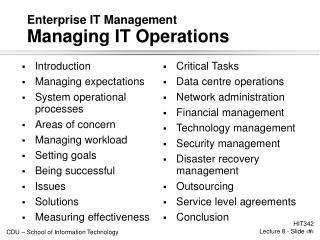 Enterprise IT Management  Managing IT Operations