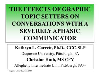 THE EFFECTS OF GRAPHIC TOPIC SETTERS ON CONVERSATIONS WITH A SEVERELY APHASIC COMMUNICATOR