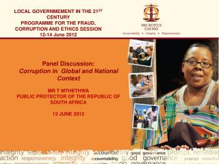 LOCAL GOVERNMEMENT IN THE 21 ST  CENTURY PROGRAMME FOR THE FRAUD, CORRUPTION AND ETHICS SESSION