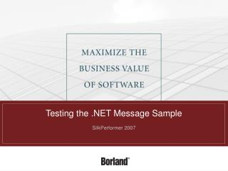 Testing the  Message Sample