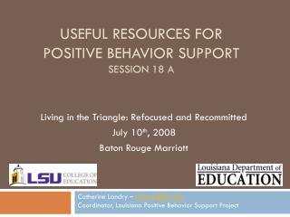 Useful Resources for Positive Behavior Support Session 18 A