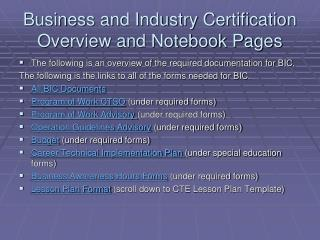 Business and Industry Certification Overview and Notebook Pages