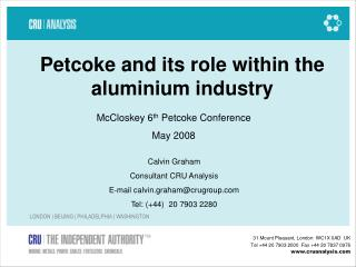 Petcoke and its role within the aluminium industry