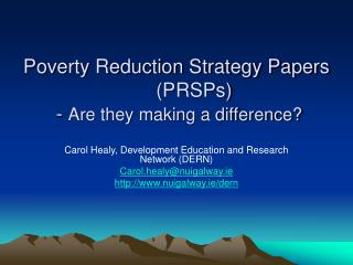 Poverty Reduction Strategy Papers PRSPs  - Are they making a difference