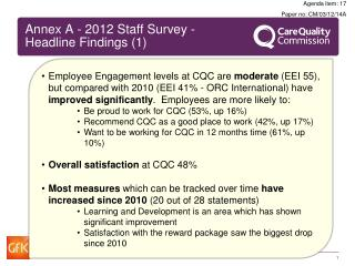 Annex A - 2012 Staff Survey - Headline Findings (1)