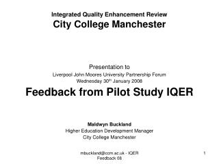 Integrated Quality Enhancement Review City College Manchester