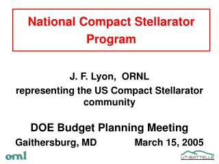 National Compact Stellarator Program