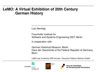 LeMO: A Virtual Exhibition of 20th Century              German History
