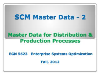 SCM Master Data - 2 Theories & Concepts  EGN 5623   Enterprise Systems Optimization Fall, 2012
