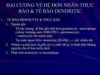 ??I C??NG V? H? ??N NH�N-TH?C  B�O & T? B�O DENDRITIC
