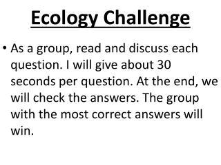 Ecology Challenge