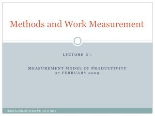Methods and Work Measurement