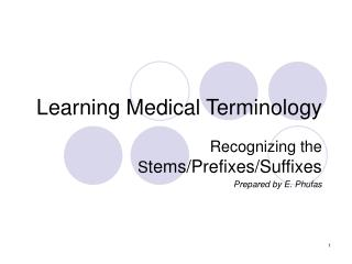 Learning Medical Terminology