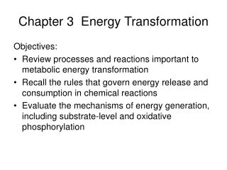 Chapter 3  Energy Transformation