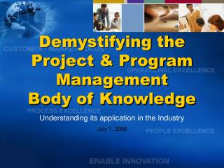 Demystifying the  Project & Program Management  Body of Knowledge