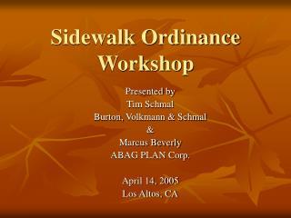 Sidewalk Ordinance Workshop