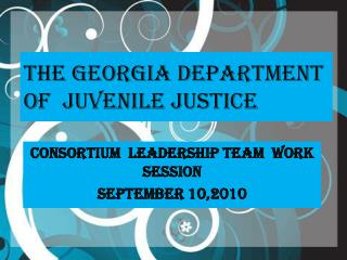 The Georgia Department  of  Juvenile Justice