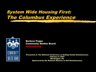 System Wide Housing First:  The Columbus Experience