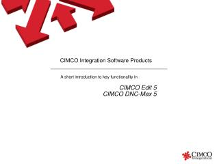 CIMCO Integration Software Products
