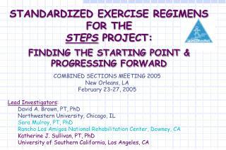 Lead Investigators : David A. Brown, PT, PhD Northwestern University, Chicago, IL