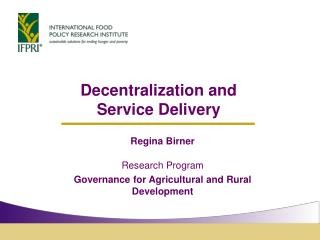 Decentralization and  Service Delivery