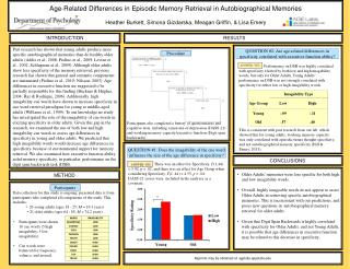 Age-Related Differences in Episodic Memory Retrieval in Autobiographical Memories