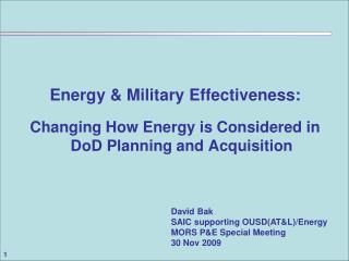 Energy & Military Effectiveness: