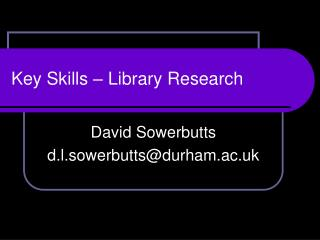 Key Skills � Library Research