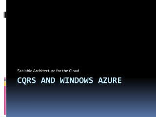 CQRS and Windows Azure