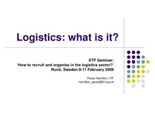 Logistics: what is it?