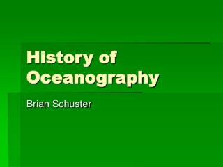 History of Oceanography