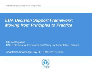EBA Decision Support Framework: