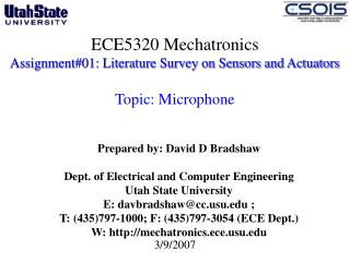 ECE5320 Mechatronics Assignment#01: Literature Survey on Sensors and Actuators  Topic: Microphone