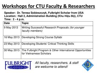 Workshops for CTU Faculty & Researchers