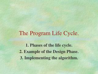 The Program Life Cycle.