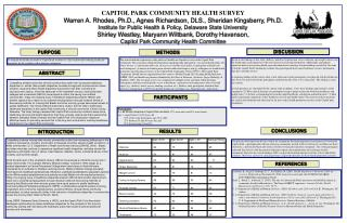 CAPITOL PARK COMMUNITY  HEALTH  SURVEY