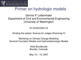 Primer on hydrologic models