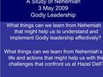 What things can we learn from Nehemiah that might help us to understand and implement Godly leadership effectively    Wh