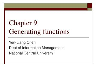 Chapter 9  Generating functions