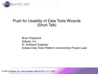 Push for Usability of Data Tools Wizards  (Short Talk)