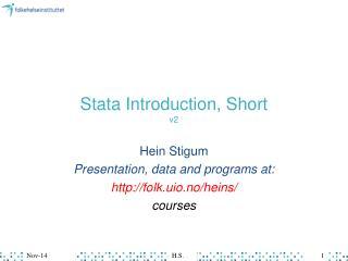 Stata Introduction, Short v2