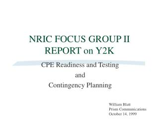 NRIC FOCUS GROUP II  REPORT on Y2K