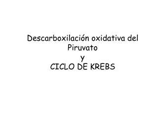 Descarboxilación oxidativa del Piruvato  y  CICLO DE KREBS