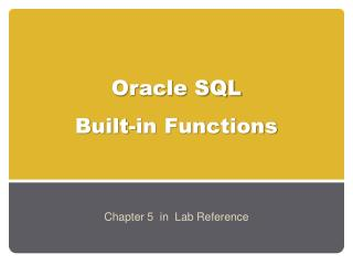 Oracle SQL  Built-in Functions