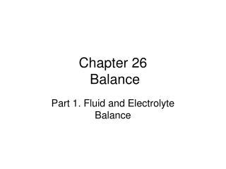 Chapter 26  Balance
