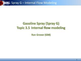 Gasoline Spray  (Spray G) Topic 3.5 Internal flow  modeling Ron Grover (GM)