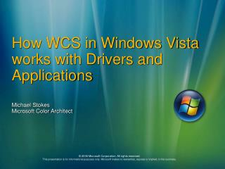 How WCS in Windows Vista works with Drivers and Applications